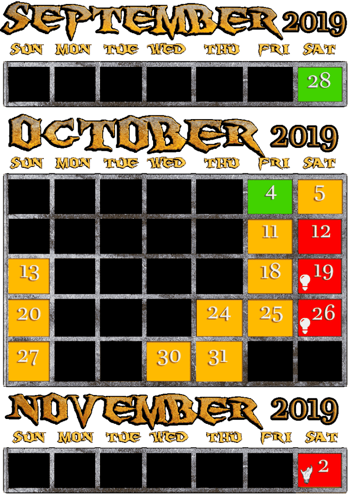Reign of Terror is open September 28, October 4,5,11,12,13,18,19,20,24,25,26,27,30,31, November 2